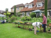 Setting up the plant stall